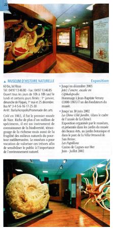 Muséum d'histoire naturelle Nice (06) en 2003